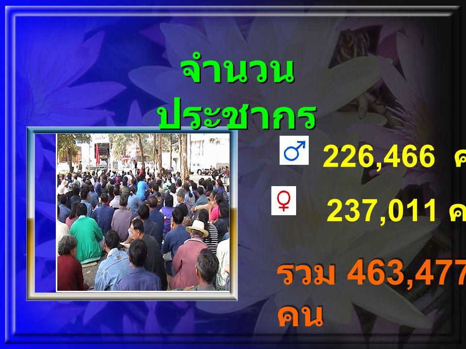 8/20/2014copyright www.brainybetty.com 2006 All Rights Reserved 6 รวม 463,477 คน 226,466 คน 237,011 คน จำนวน ประชากร