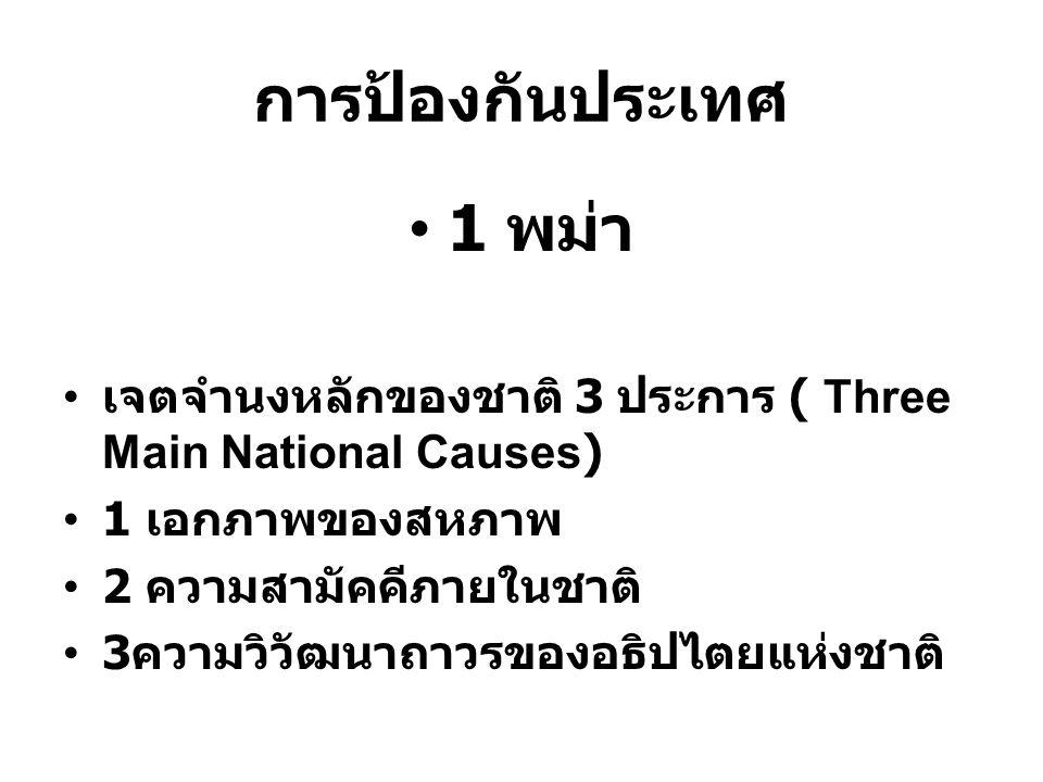 การป้องกันประเทศ 1 พม่า เจตจำนงหลักของชาติ 3 ประการ ( Three Main National Causes) 1 เอกภาพของสหภาพ 2 ความสามัคคีภายในชาติ 3 ความวิวัฒนาถาวรของอธิปไตยแ