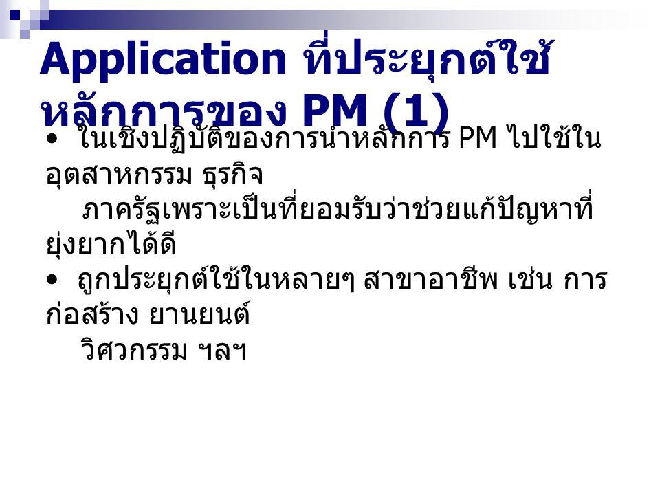 Application ที่ประยุกต์ใช้ หลักการของ PM (2) รูปแบบการบริหารแนวใหม่ที่นำแนวคิดปรัชญา ทางด้านคุณภาพโดยรวม (total quality philosophy) ไปใช้ ( สามารถเพิ่ม ประสิทธิภาพของระบบ การทำงานได้ดี ) Participative management (PM) การจัดการการมีส่วนร่วม คือ การรวมของเทคนิค หลายๆ เทคนิค เพื่อที่จะใช้เตรียมให้คนงาน ทุกระดับมีโอกาสได้ใช้เทคนิค หรือทักษะ เข้ามามีส่วนร่วมใน กระบวนการจัดการที่สำคัญ