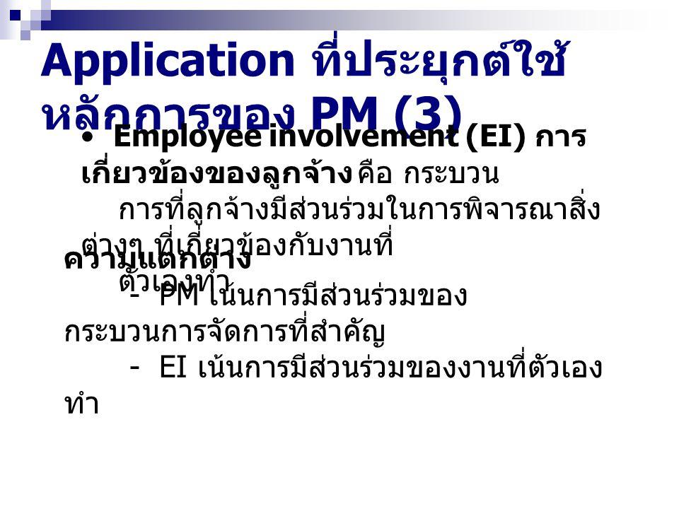 Application ที่ประยุกต์ใช้ หลักการของ PM (3) Employee involvement (EI) การ เกี่ยวข้องของลูกจ้าง คือ กระบวน การที่ลูกจ้างมีส่วนร่วมในการพิจารณาสิ่ง ต่า