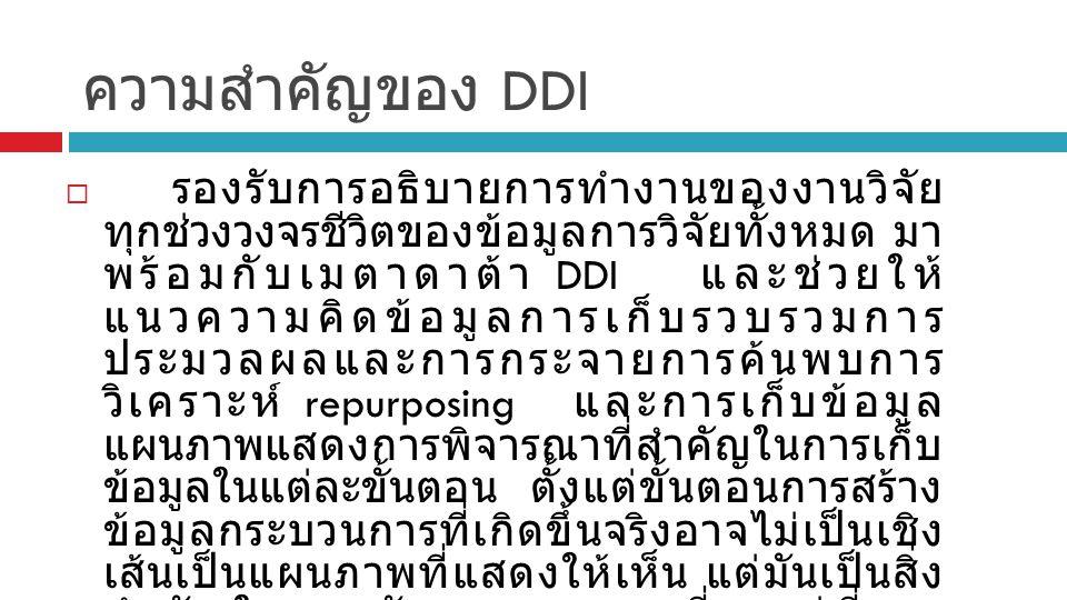 ความสำคัญของ DDI  รองรับการอธิบายการทำงานของงานวิจัย ทุกช่วงวงจรชีวิตของข้อมูลการวิจัยทั้งหมด มา พร้อมกับเมตาดาต้า DDI และช่วยให้ แนวความคิดข้อมูลการเก็บรวบรวมการ ประมวลผลและการกระจายการค้นพบการ วิเคราะห์ repurposing และการเก็บข้อมูล แผนภาพแสดงการพิจารณาที่สำคัญในการเก็บ ข้อมูลในแต่ละขั้นตอน ตั้งแต่ขั้นตอนการสร้าง ข้อมูลกระบวนการที่เกิดขึ้นจริงอาจไม่เป็นเชิง เส้นเป็นแผนภาพที่แสดงให้เห็น แต่มันเป็นสิ่ง สำคัญในการพัฒนาแผนการที่จะอยู่ที่การ พิจารณาเอกสารที่เข้ามาเล่นในทุกขั้นตอนของ วงจรชีวิตของข้อมูลดังภาพที่