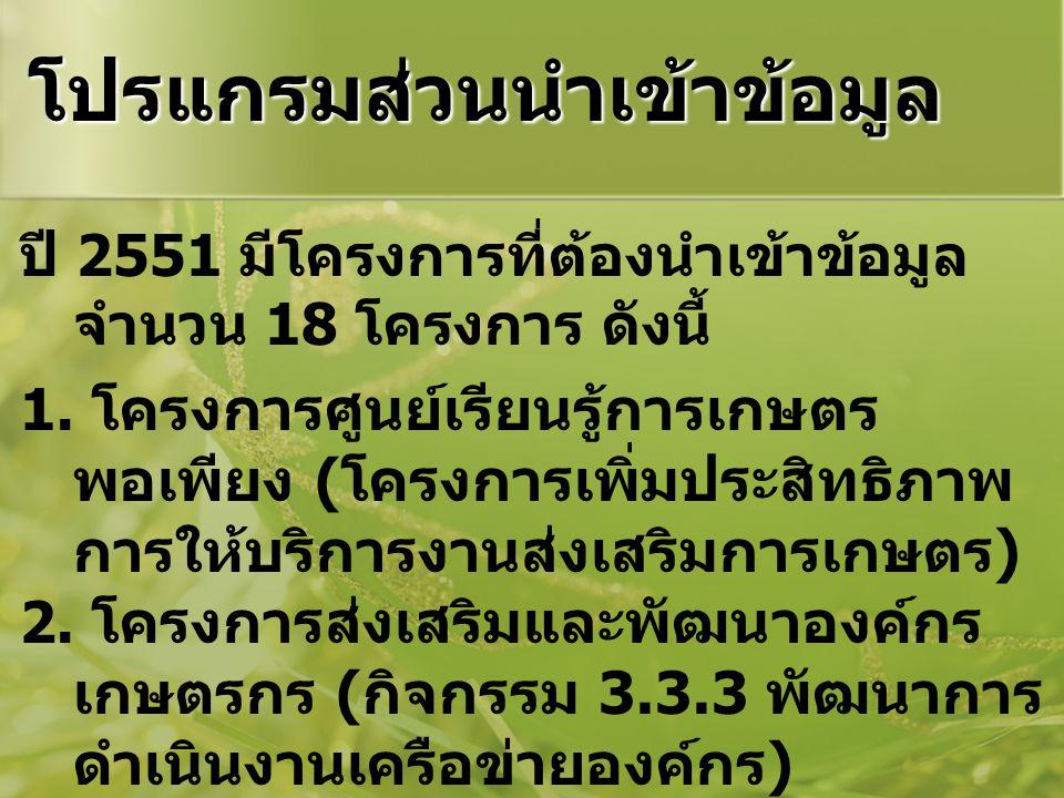 โปรแกรมส่วนนำเข้าข้อมูล ปี 2551 มีโครงการที่ต้องนำเข้าข้อมูล จำนวน 18 โครงการ ดังนี้ 1. โครงการศูนย์เรียนรู้การเกษตร พอเพียง ( โครงการเพิ่มประสิทธิภาพ