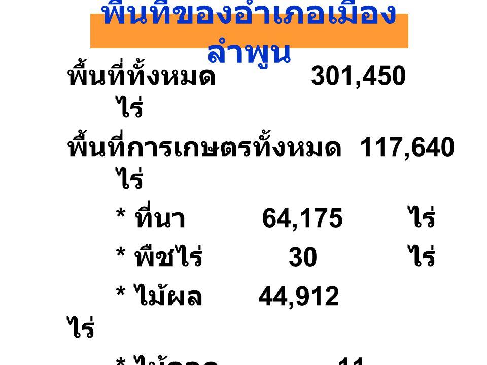 พื้นที่ของอำเภอเมือง ลำพูน พื้นที่ทั้งหมด 301,450 ไร่ พื้นที่การเกษตรทั้งหมด 117,640 ไร่ * ที่นา 64,175 ไร่ * พืชไร่ 30 ไร่ * ไม้ผล 44,912 ไร่ * ไม้ดอก 11 ไร่ * การเกษตรอื่น ๆ 3,536 ไร่ พื้นที่อื่น ๆ 183,811 ไร่