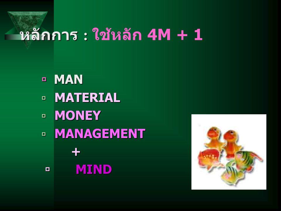 หลักการ : หลักการ : ใช้หลัก 4M + 1  MAN  MATERIAL  MONEY  MANAGEMENT +  MIND  MIND