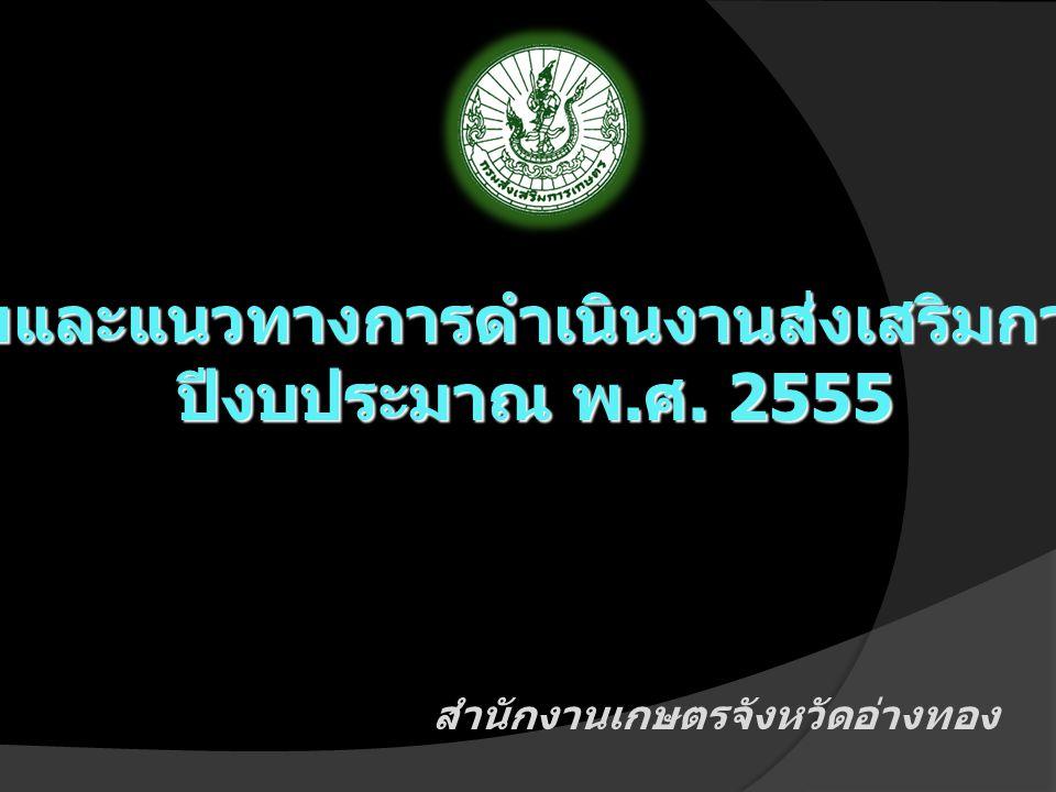 สำนักงานเกษตรจังหวัดอ่างทอง นโยบายและแนวทางการดำเนินงานส่งเสริมการเกษตร ปีงบประมาณ พ. ศ. 2555