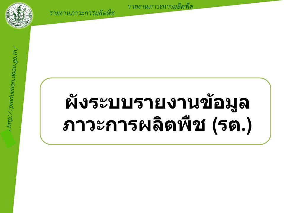 ผังระบบรายงานข้อมูล ภาวะการผลิตพืช ( รต.)