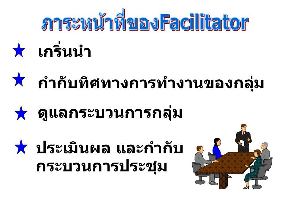 ระยะต่าง ๆ ของการดำเนินการประชุม 1. เกริ่นนำ 2. ดำเนินการประชุมอภิปราย 3. ประเมินผล