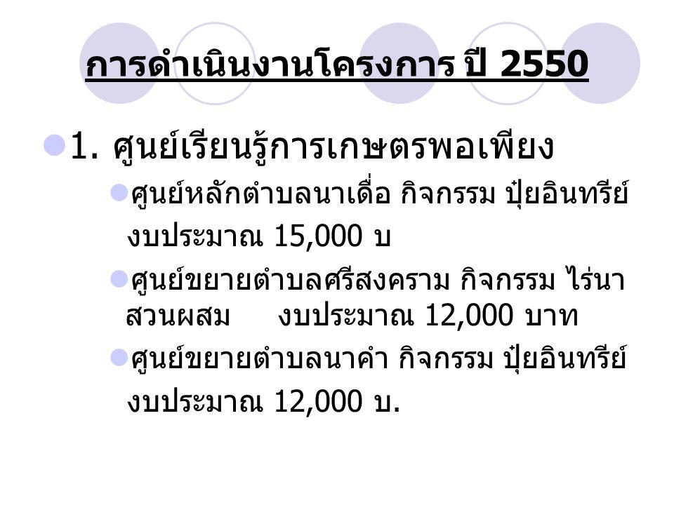 การดำเนินงานโครงการ ปี 2550 1.