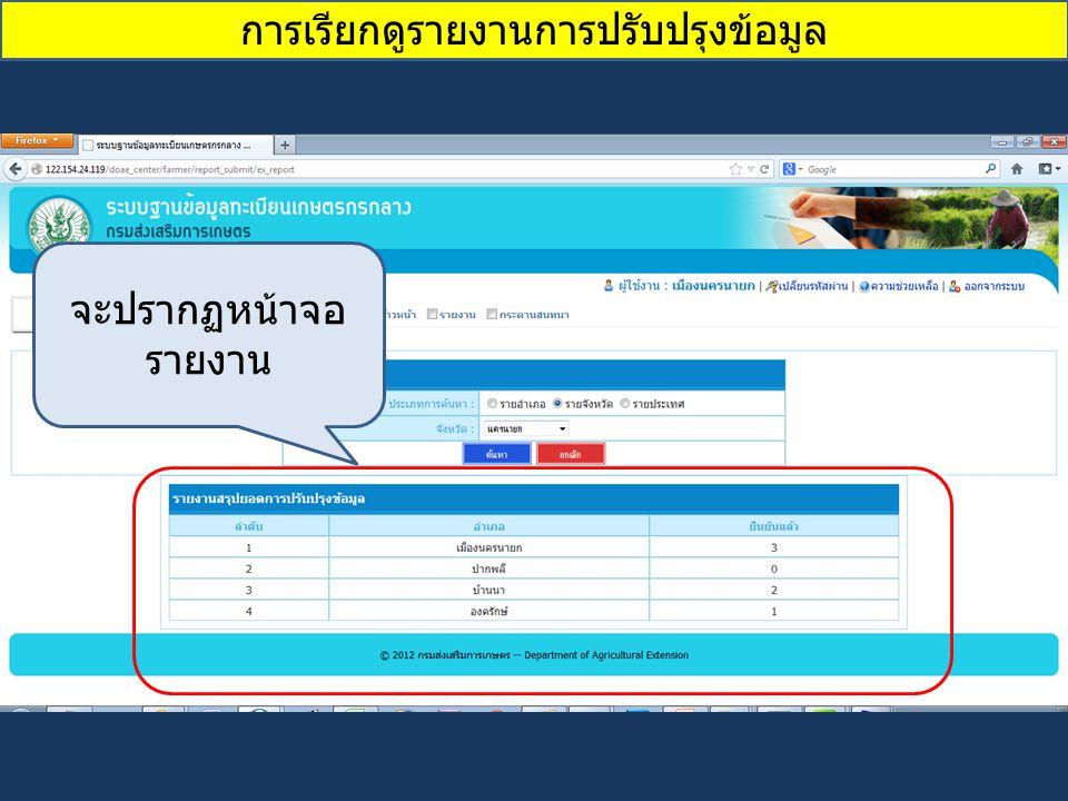 การเรียกดูรายงานการปรับปรุงข้อมูล จะปรากฏหน้าจอ รายงาน
