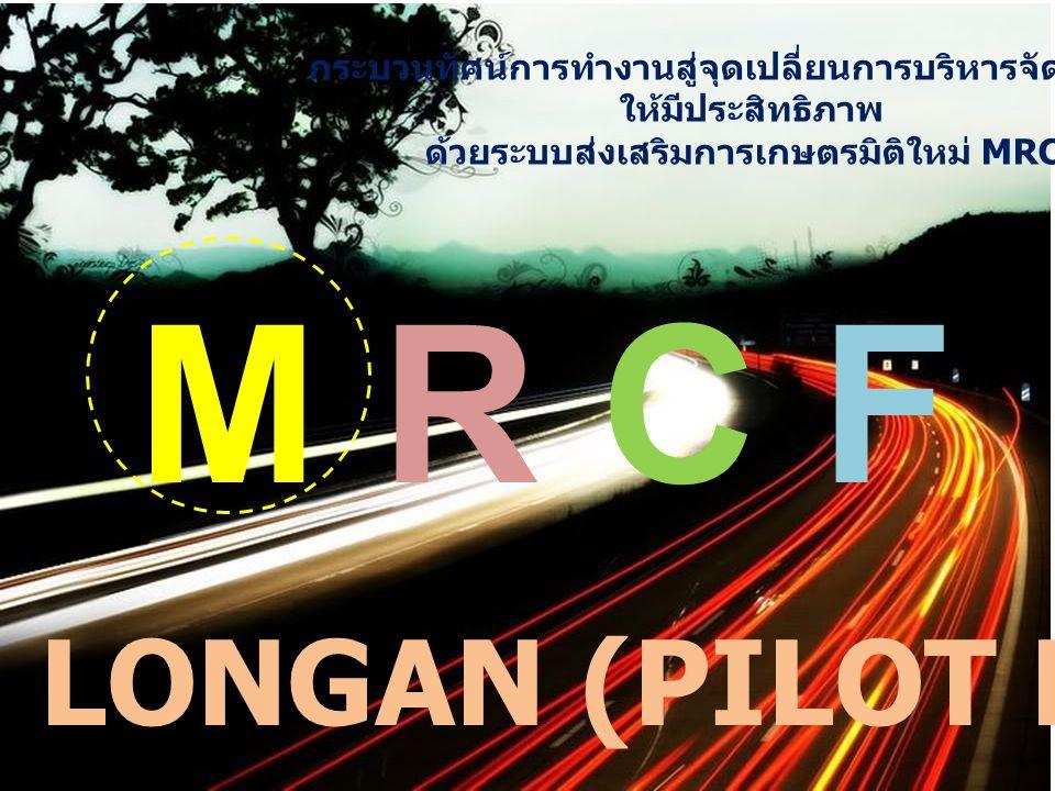 กระบวนทัศน์การทำงานสู่จุดเปลี่ยนการบริหารจัดการลำไย ให้มีประสิทธิภาพ ด้วยระบบส่งเสริมการเกษตรมิติใหม่ MRCF M R C FM R C F LONGAN (PILOT PROJECT)