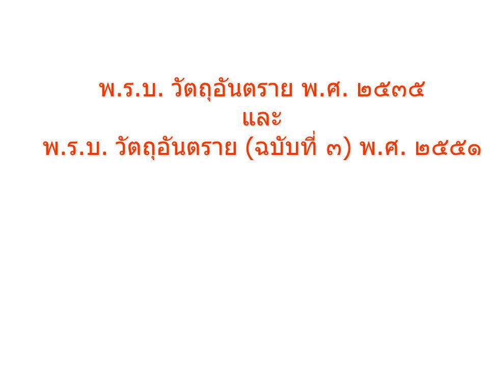 พ.ร.บ. วัตถุอันตราย พ.ศ. ๒๕๓๕ และ พ.ร.บ. วัตถุอันตราย (ฉบับที่ ๓) พ.ศ. ๒๕๕๑