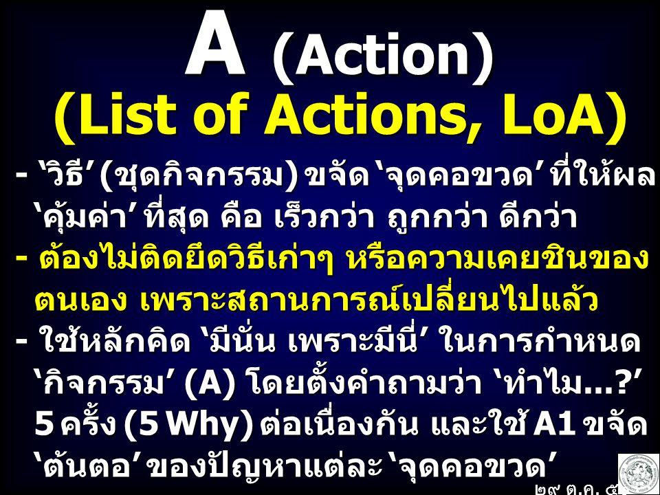 A (Action) (List of Actions, LoA) - 'วิธี' (ชุดกิจกรรม) ขจัด 'จุดคอขวด' ที่ให้ผล 'คุ้มค่า' ที่สุด คือ เร็วกว่า ถูกกว่า ดีกว่า 'คุ้มค่า' ที่สุด คือ เร็วกว่า ถูกกว่า ดีกว่า - ต้องไม่ติดยึดวิธีเก่าๆ หรือความเคยชินของ ตนเอง เพราะสถานการณ์เปลี่ยนไปแล้ว ตนเอง เพราะสถานการณ์เปลี่ยนไปแล้ว - ใช้หลักคิด 'มีนั่น เพราะมีนี่' ในการกำหนด 'กิจกรรม' (A) โดยตั้งคำถามว่า 'ทำไม...?' 'กิจกรรม' (A) โดยตั้งคำถามว่า 'ทำไม...?' 5 ครั้ง (5 Why) ต่อเนื่องกัน และใช้ A1 ขจัด 5 ครั้ง (5 Why) ต่อเนื่องกัน และใช้ A1 ขจัด 'ต้นตอ' ของปัญหาแต่ละ 'จุดคอขวด' 'ต้นตอ' ของปัญหาแต่ละ 'จุดคอขวด' ๒๙ ต.