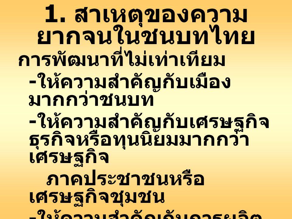 1. สาเหตุของความ ยากจนในชนบทไทย การพัฒนาที่ไม่เท่าเทียม - ให้ความสำคัญกับเมือง มากกว่าชนบท - ให้ความสำคัญกับเศรษฐกิจ ธุรกิจหรือทุนนิยมมากกว่า เศรษฐกิจ