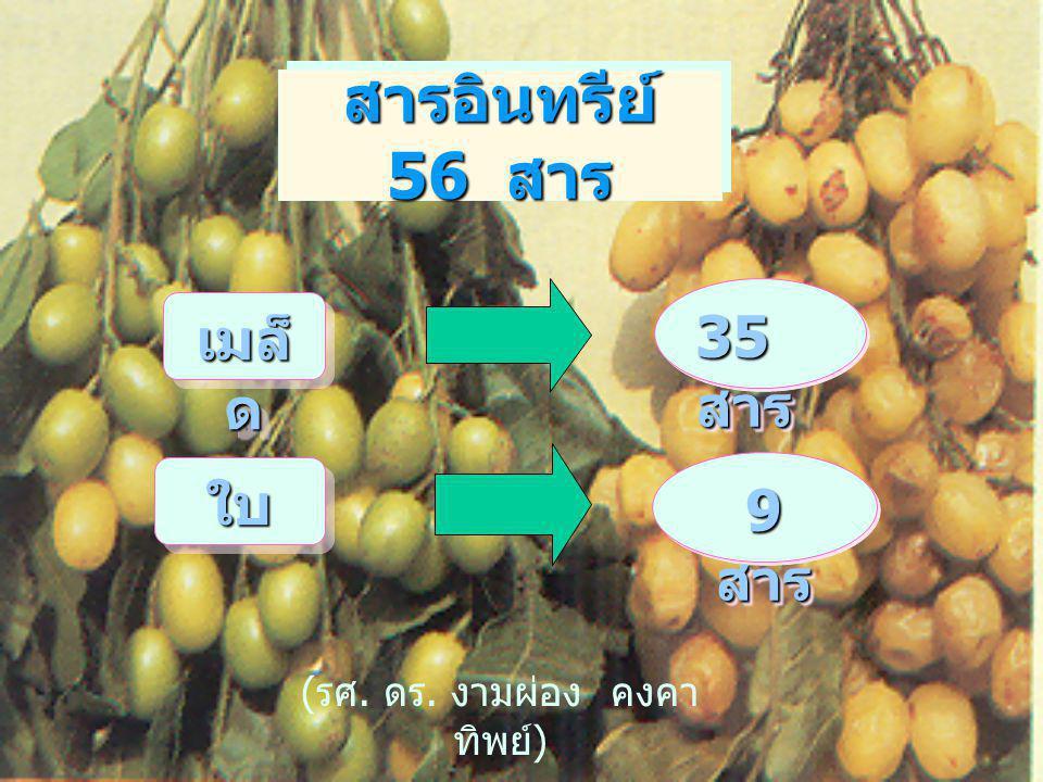 สารอินทรีย์ 56 สาร 35 สาร ใบใบ 9 สาร ( รศ. ดร. งามผ่อง คงคา ทิพย์ ) เมล็ ด
