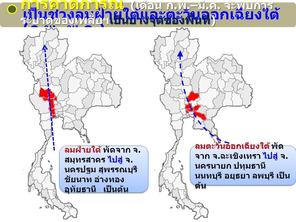 เป็นช่วงลมฝ่ายใต้และตะวันออกเฉียงใต้ ( ก.พ.- พ. ค.) ลมฝ่ายใต้ พัดจาก จ.