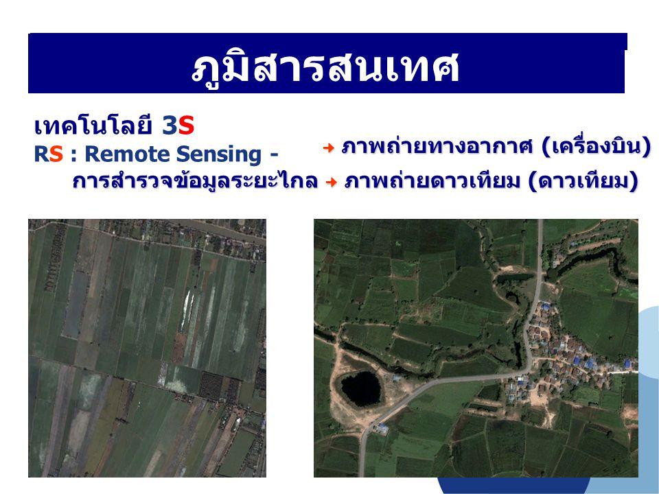ภูมิสารสนเทศ เทคโนโลยี 3S RS : Remote Sensing - การสำรวจข้อมูลระยะไกล ภาพถ่ายดาวเทียม (ดาวเทียม) การสำรวจข้อมูลระยะไกล ภาพถ่ายดาวเทียม (ดาวเทียม) ภูมิ