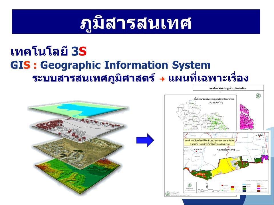 เทคโนโลยี 3S GIS : GIS : Geographic Information System ระบบสารสนเทศภูมิศาสตร์ ระบบสารสนเทศภูมิศาสตร์ แผนที่เฉพาะเรื่อง ภูมิสารสนเทศ