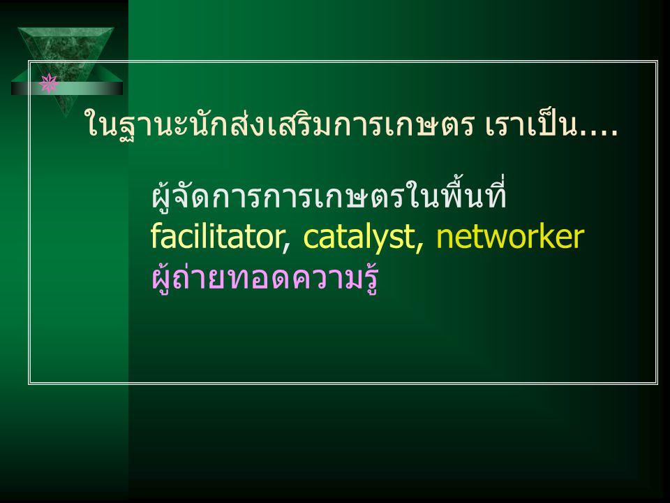  ในฐานะนักส่งเสริมการเกษตร เราเป็น.... ผู้จัดการการเกษตรในพื้นที่ facilitator, catalyst, networker ผู้ถ่ายทอดความรู้