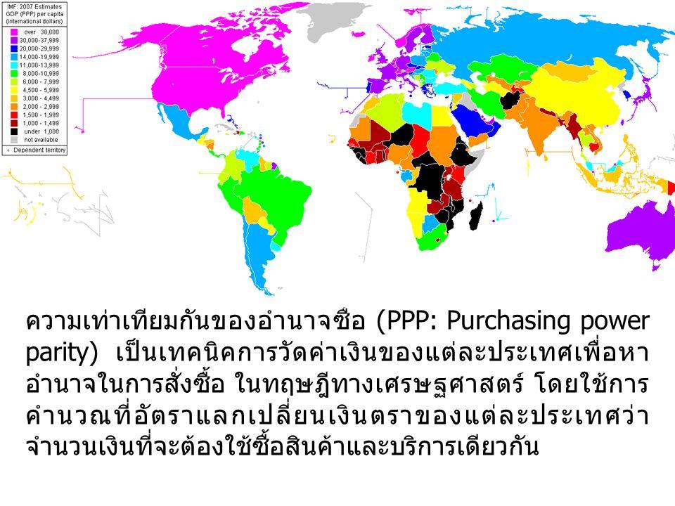 ความเท่าเทียมกันของอำนาจซื้อ (PPP: Purchasing power parity) เป็นเทคนิคการวัดค่าเงินของแต่ละประเทศเพื่อหา อำนาจในการสั่งซื้อ ในทฤษฎีทางเศรษฐศาสตร์ โดยใ