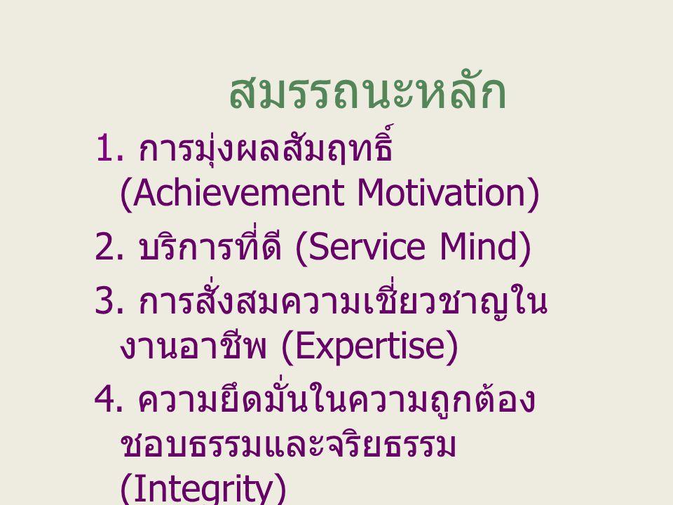 สมรรถนะหลัก 1. การมุ่งผลสัมฤทธิ์ (Achievement Motivation) 2. บริการที่ดี (Service Mind) 3. การสั่งสมความเชี่ยวชาญใน งานอาชีพ (Expertise) 4. ความยึดมั่