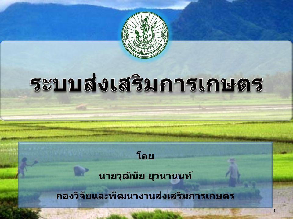 ระบบส่งเสริมการเกษตร หมายถึง กระบวนการ และขั้นตอนการปฏิบัติงานของเจ้าหน้าที่ในการ ส่งเสริมการเกษตร ทั้งการปฏิบัติงานในพื้นที่และการ สนับสนุนการปฏิบัติงาน ซึ่งมีความต่อเนื่องเชื่อมโยง และเป็นไปในทิศทางเดียวกัน 2