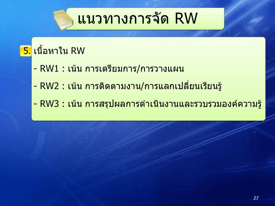 5.เนื้อหาใน RW - RW1 : เน้น การเตรียมการ/การวางแผน - RW2 : เน้น การติดตามงาน/การแลกเปลี่ยนเรียนรู้ - RW3 : เน้น การสรุปผลการดำเนินงานและรวบรวมองค์ความรู้ แนวทางการจัด RW 27
