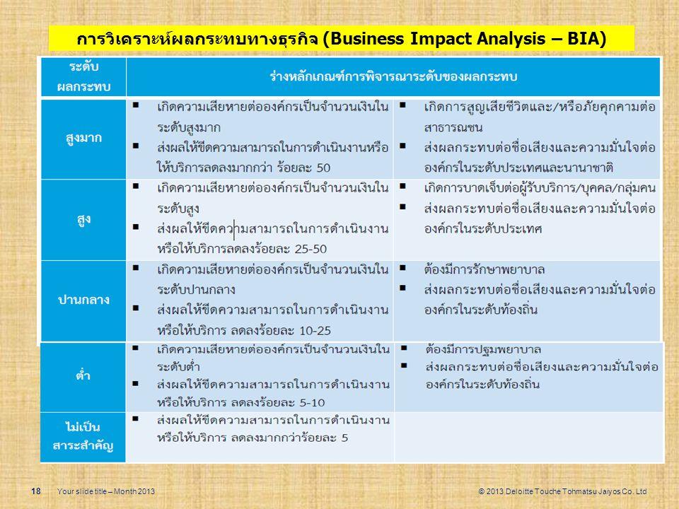 © 2013 Deloitte Touche Tohmatsu Jaiyos Co. Ltd 18 Your slide title – Month 2013 การวิเคราะห์ผลกระทบทางธุรกิจ (Business Impact Analysis – BIA)