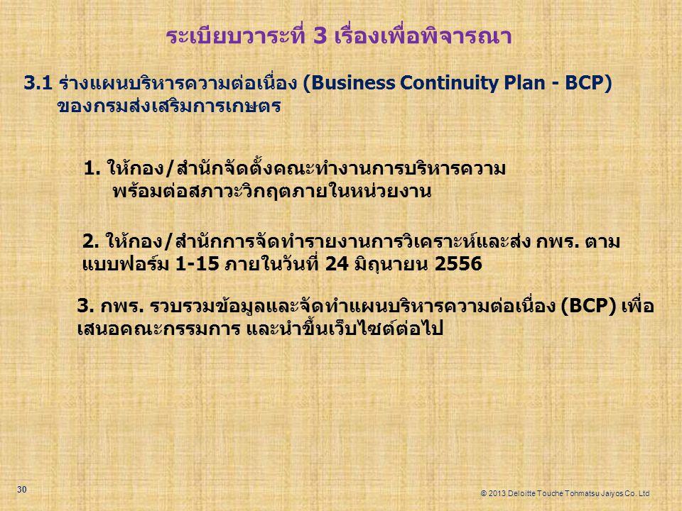 © 2013 Deloitte Touche Tohmatsu Jaiyos Co. Ltd ระเบียบวาระที่ 3 เรื่องเพื่อพิจารณา 3.1 ร่างแผนบริหารความต่อเนื่อง (Business Continuity Plan - BCP) ของ