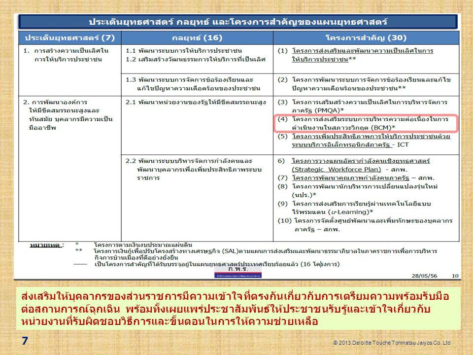 © 2013 Deloitte Touche Tohmatsu Jaiyos Co. Ltd 7 ส่งเสริมให้บุคลากรของส่วนราชการมีความเข้าใจที่ตรงกันเกี่ยวกับการเตรียมความพร้อมรับมือ ต่อสถานการณ์ฉุก