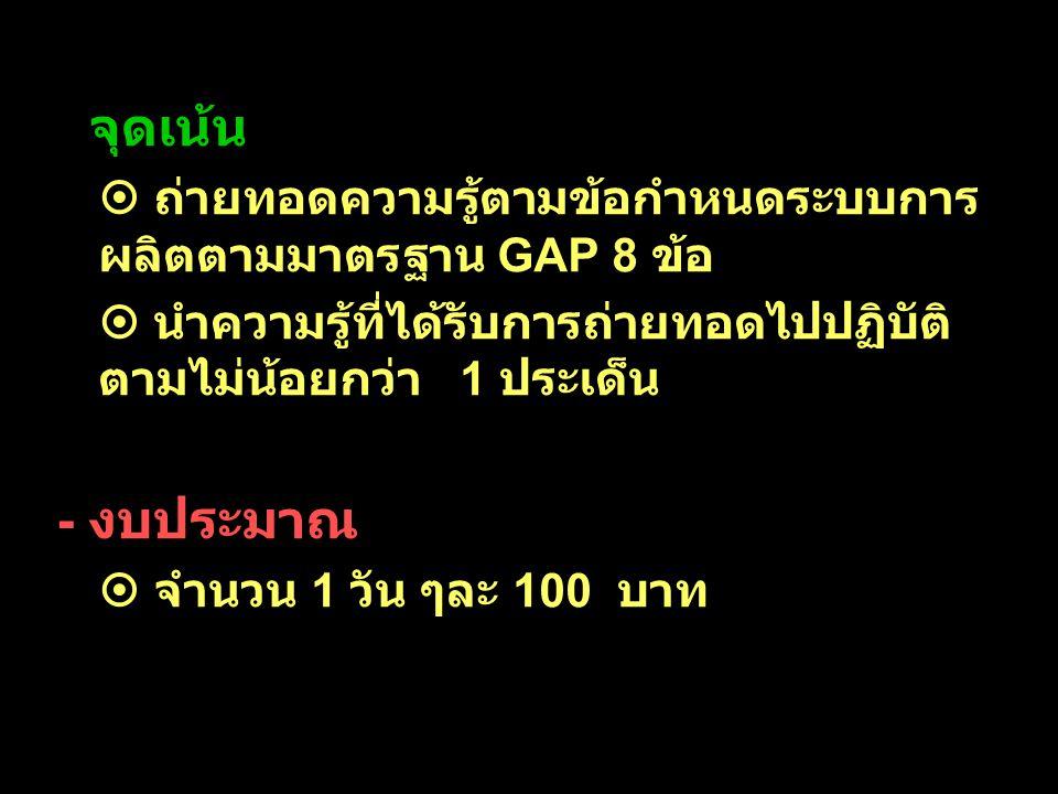 - จุดเน้น  ถ่ายทอดความรู้ตามข้อกำหนดระบบการ ผลิตตามมาตรฐาน GAP 8 ข้อ  นำความรู้ที่ได้รับการถ่ายทอดไปปฏิบัติ ตามไม่น้อยกว่า 1 ประเด็น - งบประมาณ  จำ