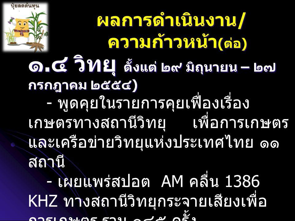 ๑. ๔ วิทยุ ตั้งแต่ ๒๙ มิถุนายน – ๒๗ กรกฎาคม ๒๕๕๔ ) - พูดคุยในรายการคุยเฟื่องเรื่อง เกษตรทางสถานีวิทยุ เพื่อการเกษตร และเครือข่ายวิทยุแห่งประเทศไทย ๑๑