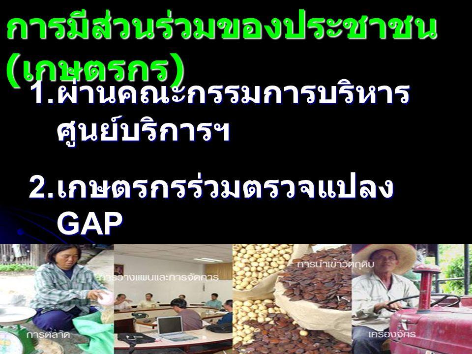 การมีส่วนร่วมของประชาชน ( เกษตรกร ) 1. ผ่านคณะกรรมการบริหาร ศูนย์บริการฯ 2. เกษตรกรร่วมตรวจแปลง GAP 3. เกษตรกรช่วยประชาสัมพันธ์ โครงการ