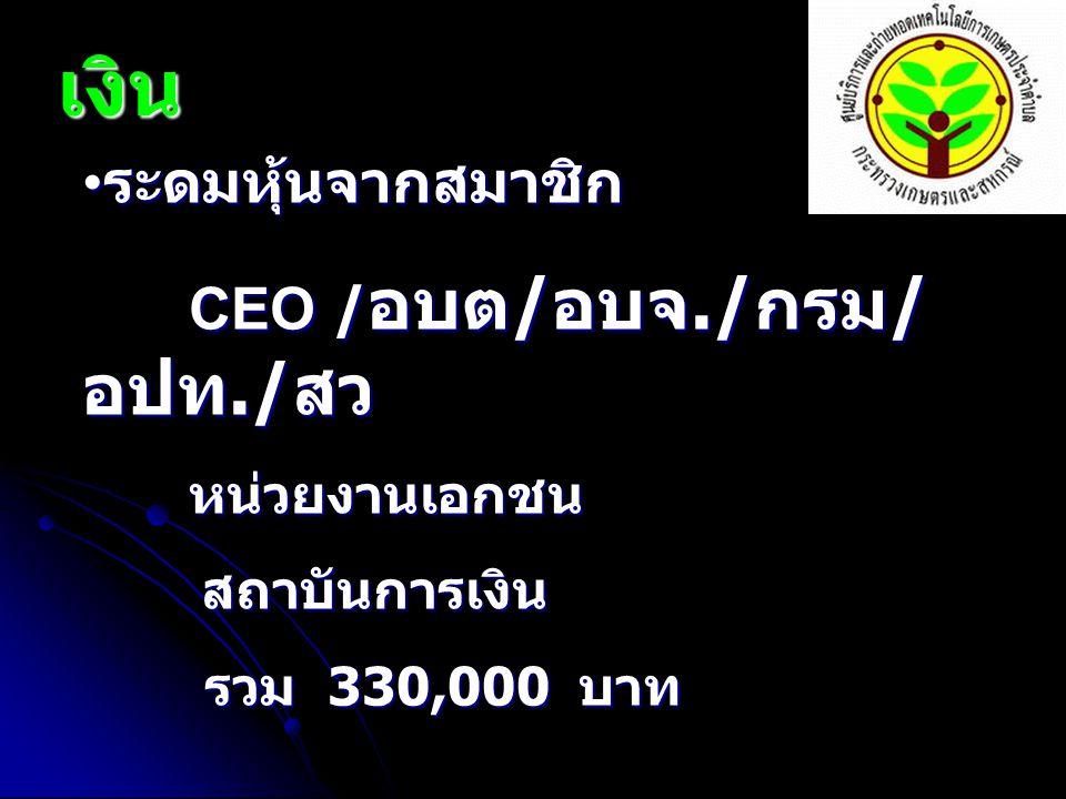 เงิน ระดมหุ้นจากสมาชิก ระดมหุ้นจากสมาชิก CEO / อบต / อบจ./ กรม / อปท./ สว หน่วยงานเอกชน สถาบันการเงิน สถาบันการเงิน รวม 330,000 บาท รวม 330,000 บาท