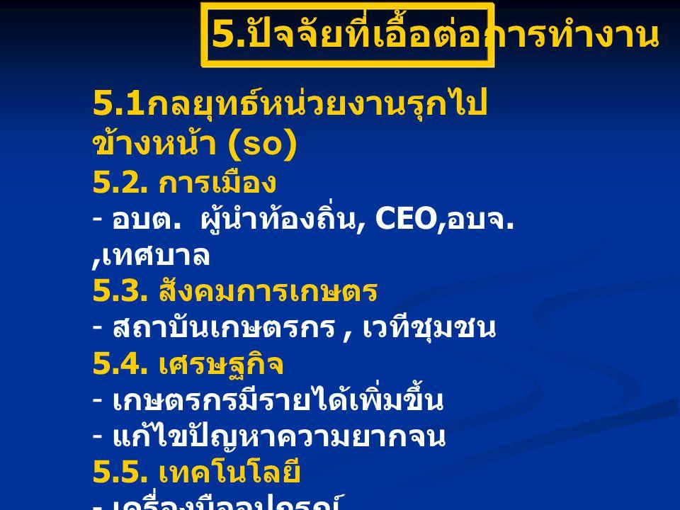 5. ปัจจัยที่เอื้อต่อการทำงาน 5.1 กลยุทธ์หน่วยงานรุกไป ข้างหน้า (so) 5.2. การเมือง - อบต. ผู้นำท้องถิ่น, CEO, อบจ., เทศบาล 5.3. สังคมการเกษตร - สถาบันเ