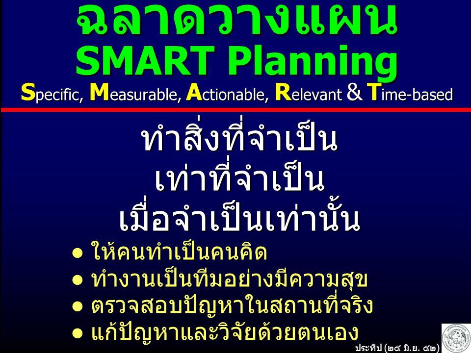 ฉลาดวางแผน SMART Planning S pecific, M easurable, A ctionable, R elevant & T ime-based ทำสิ่งที่จำเป็นเท่าที่จำเป็นเมื่อจำเป็นเท่านั้น ● ให้คนทำเป็นคนคิด ● ให้คนทำเป็นคนคิด ● ทำงานเป็นทีมอย่างมีความสุข ● ทำงานเป็นทีมอย่างมีความสุข ● ตรวจสอบปัญหาในสถานที่จริง ● ตรวจสอบปัญหาในสถานที่จริง ● แก้ปัญหาและวิจัยด้วยตนเอง ● แก้ปัญหาและวิจัยด้วยตนเอง ประทีป (๒๕ มิ.ย.