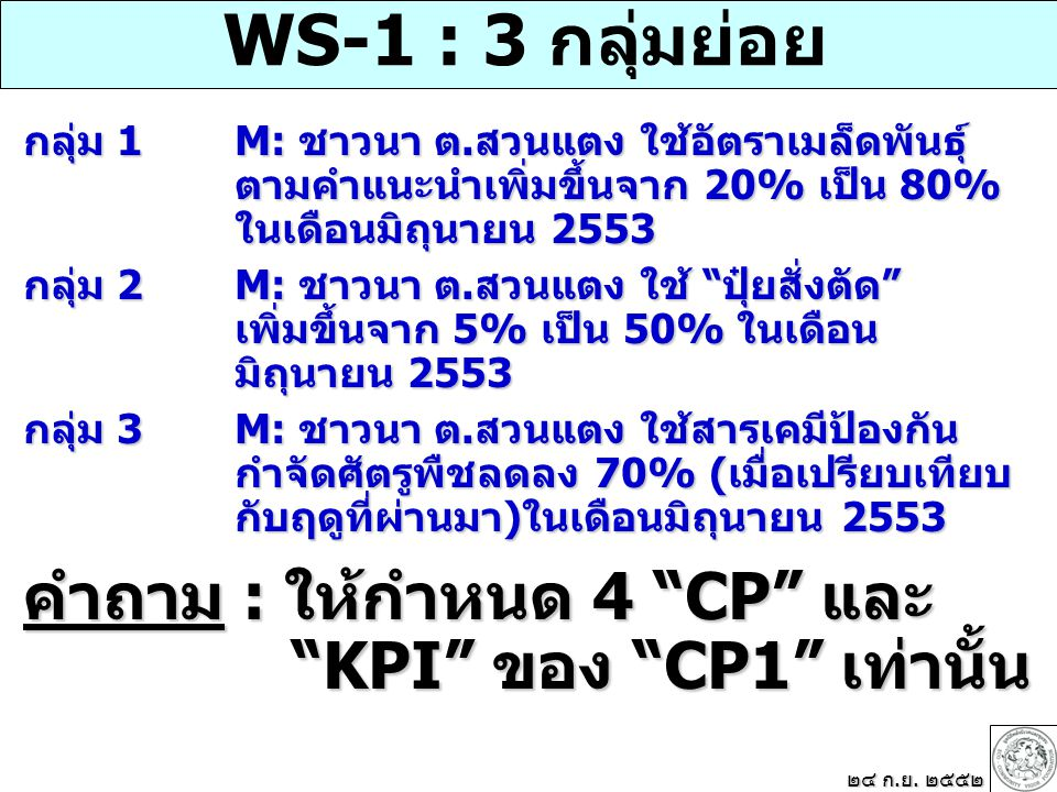 WS-1 : 3 กลุ่มย่อย กลุ่ม 1M: ชาวนา ต.สวนแตง ใช้อัตราเมล็ดพันธุ์ ตามคำแนะนำเพิ่มขึ้นจาก 20% เป็น 80% ในเดือนมิถุนายน 2553 กลุ่ม 2M: ชาวนา ต.สวนแตง ใช้ ปุ๋ยสั่งตัด เพิ่มขึ้นจาก 5% เป็น 50% ในเดือน มิถุนายน 2553 กลุ่ม 3 M: ชาวนา ต.สวนแตง ใช้สารเคมีป้องกัน กำจัดศัตรูพืชลดลง 70% (เมื่อเปรียบเทียบ กับฤดูที่ผ่านมา)ในเดือนมิถุนายน 2553 คำถาม : ให้กำหนด 4 CP และ KPI ของ CP1 เท่านั้น KPI ของ CP1 เท่านั้น ๒๔ ก.ย.
