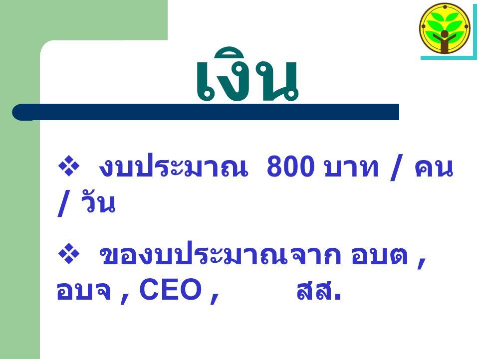 เงิน  งบประมาณ 800 บาท / คน / วัน  ของบประมาณจาก อบต, อบจ, CEO, สส.