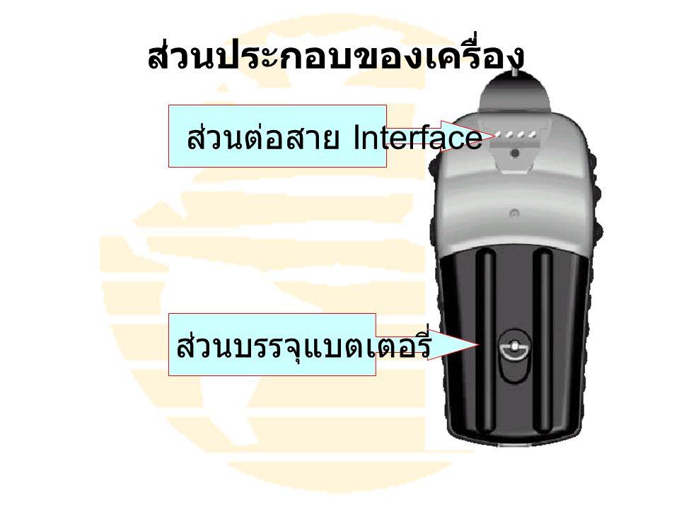 ส่วนบรรจุแบตเตอรี่ ส่วนต่อสาย Interface ส่วนประกอบของเครื่อง