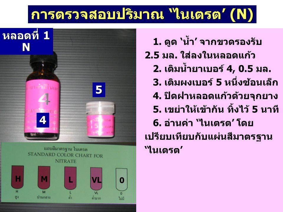 การตรวจสอบปริมาณ 'ไนเตรต' (N) 4 5 หลอดที่ 1 N N H M L VL 0 1. ดูด 'น้ำ' จากขวดรองรับ 2.5 มล. ใส่ลงในหลอดแก้ว 2. เติมน้ำยาเบอร์ 4, 0.5 มล. 3. เติมผงเบอ