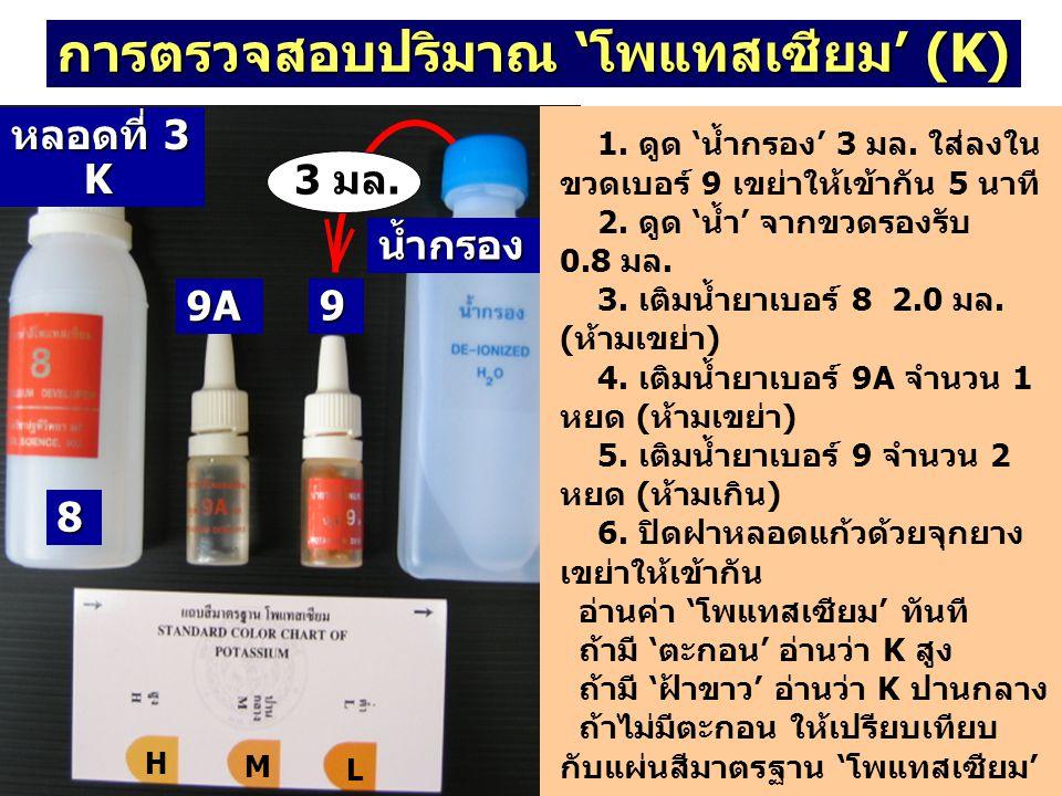 การตรวจสอบปริมาณ 'โพแทสเซียม' (K) 1. ดูด 'น้ำกรอง' 3 มล. ใส่ลงใน ขวดเบอร์ 9 เขย่าให้เข้ากัน 5 นาที 2. ดูด 'น้ำ' จากขวดรองรับ 0.8 มล. 3. เติมน้ำยาเบอร์