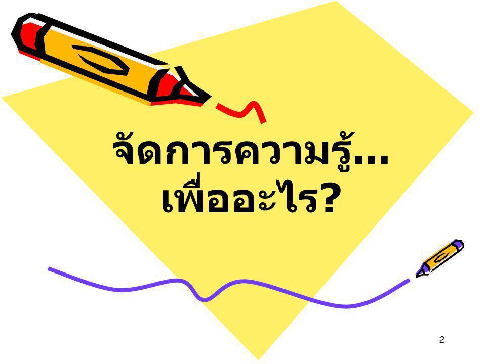 2 จัดการความรู้... เพื่ออะไร ?