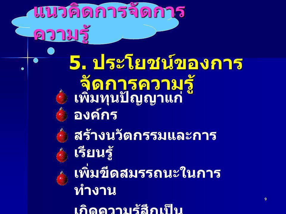 9 แนวคิดการจัดการ ความรู้ 5.