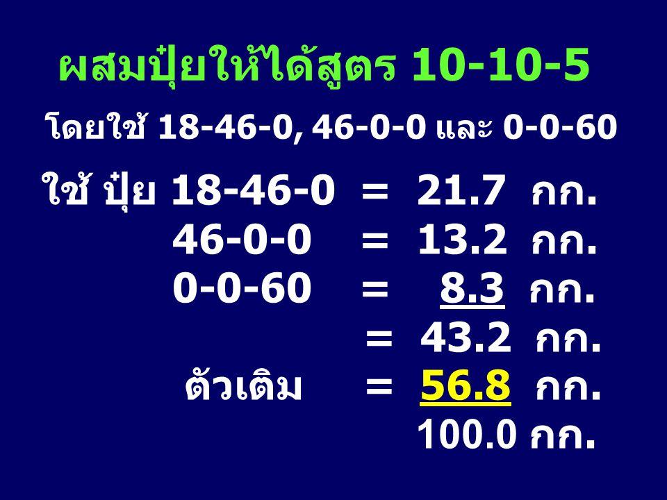 ผสมปุ๋ยให้ได้สูตร 10-10-5 โดยใช้ 18-46-0, 46-0-0 และ 0-0-60 ใช้ ปุ๋ย 18-46-0 = 21.7 กก. 46-0-0 = 13.2 กก. 0-0-60 = 8.3 กก. = 43.2 กก. ตัวเติม = 56.8 ก