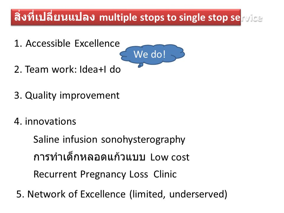 สิ่งที่เปลี่ยนแปลง multiple stops to single stop service 1. Accessible Excellence 2. Team work: Idea+I do 3. Quality improvement We do! 4. innovations