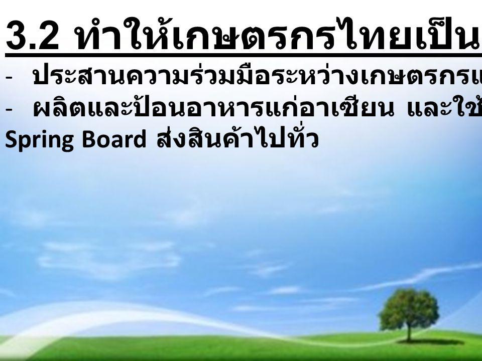 3.2 ทำให้เกษตรกรไทยเป็นผู้นำอาเซียน - ประสานความร่วมมือระหว่างเกษตรกรและผู้ประกอบการ - ผลิตและป้อนอาหารแก่อาเซียน และใช้อาเซียนเป็น Spring Board ส่งสินค้าไปทั่ว