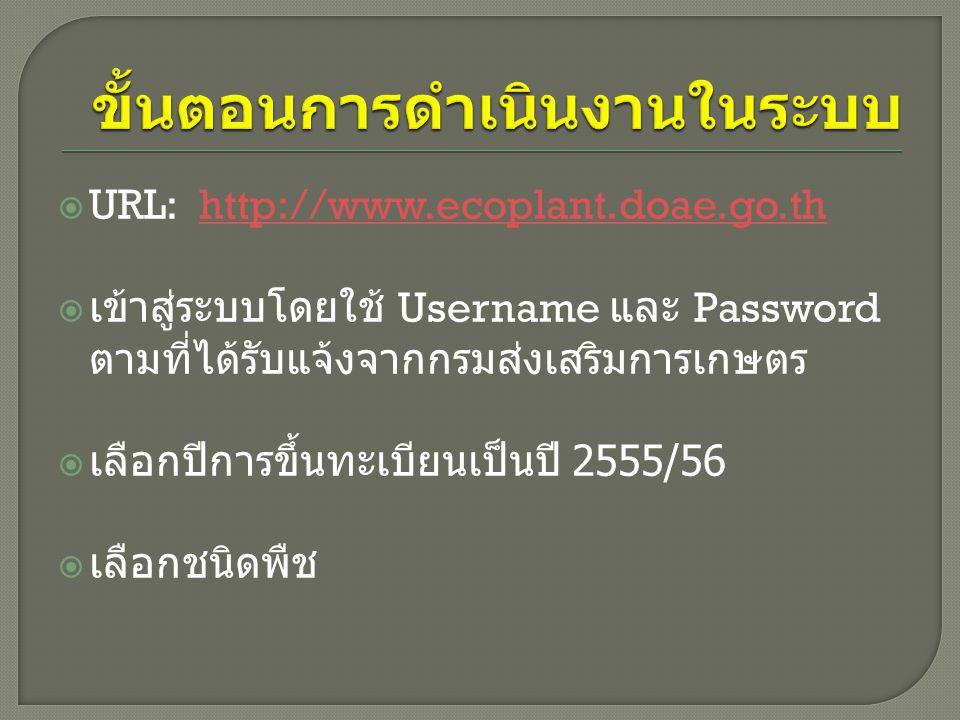  URL: http://www.ecoplant.doae.go.thhttp://www.ecoplant.doae.go.th  เข้าสู่ระบบโดยใช้ Username และ Password ตามที่ได้รับแจ้งจากกรมส่งเสริมการเกษตร  เลือกปีการขึ้นทะเบียนเป็นปี 2555/56  เลือกชนิดพืช