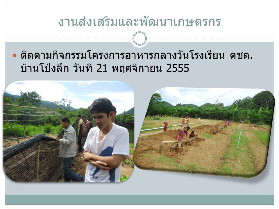 งานส่งเสริมและพัฒนาเกษตรกร ประชุมอาสาสมัครเกษตรหมู่บ้านในวันที่ 8 พฤศจิกายน 2555 ณ ห้องประชุมอำเภอแก่งกระจาน ชี้แจงแนวทาง ปฏิบัติงานของอาสาสมัครเกษตร ตามคู่มือที่จังหวัดจัดส่ง ให้อำเภอและวางแผนการปฏิบัติงานร่วมกัน