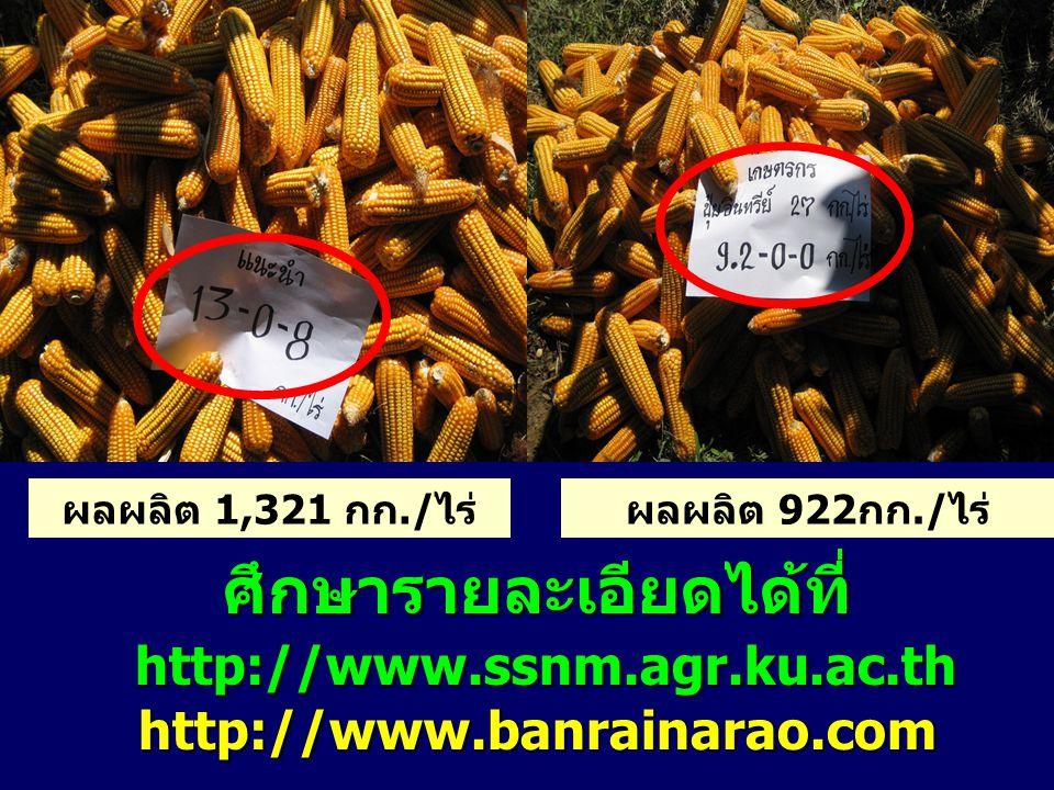 ศึกษารายละเอียดได้ที่ http://www.ssnm.agr.ku.ac.th http://www.ssnm.agr.ku.ac.thhttp://www.banrainarao.com ผลผลิต 1,321 กก./ไร่ผลผลิต 922กก./ไร่