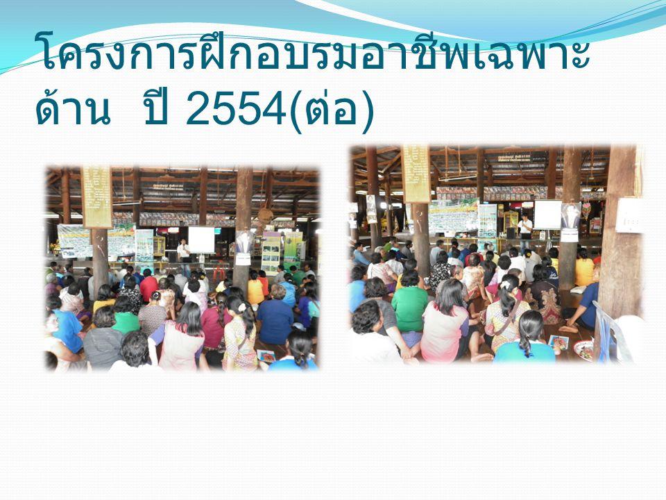โครงการฝึกอบรมอาชีพเฉพาะ ด้าน ปี 2554( ต่อ )