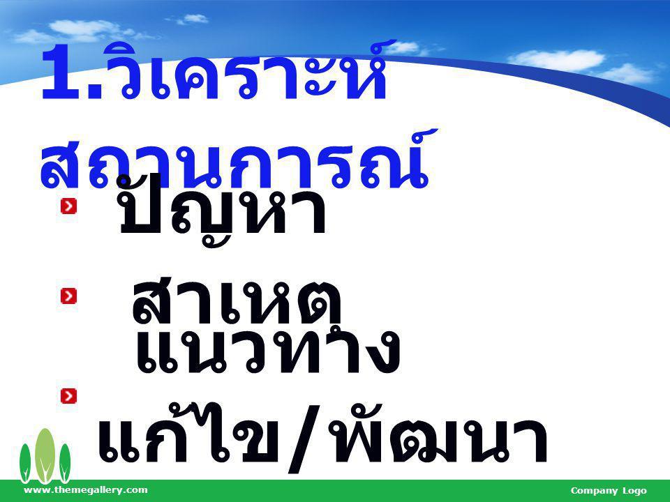 www.themegallery.com Company Logo 1. วิเคราะห์ สถานการณ์ ปัญหา สาเหตุ แนวทาง แก้ไข / พัฒนา